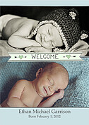 Welcome Banner Green Blue Birth Announcements Flat Cards - Front