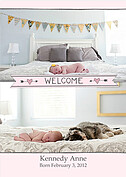 Welcome Banner Pink Birth Announcements Flat Cards - Front