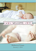 Welcome Banner Pink Blue Birth Announcements Flat Cards - Front