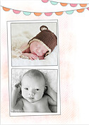 Lovely Welcome Pink Orange Birth Announcements Flat Cards - Back