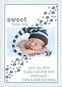Bubbly Frame Blue Gray Birth Announcements Flat Cards - Back