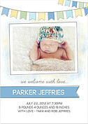 Lovely Welcome Blue Birth Announcements Flat Cards - Front