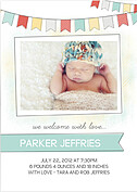 Lovely Welcome Aqua Birth Announcements Flat Cards - Front