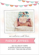Lovely Welcome Pink Orange Birth Announcements Flat Cards - Front