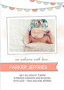 Lovely Welcome Coral Birth Announcements Flat Cards - Front