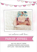 Lovely Welcome Pink Birth Announcements Flat Cards - Front