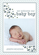 Bubbly Frame Blue Gray Birth Announcements Flat Cards - Front