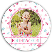 Flower Power Pink Circle Birthday Party Invitations Flat Cards - Front