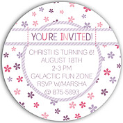 Flower Power Purple Circle Birthday Party Invitations Flat Cards - Back