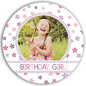 Flower Power Purple Circle Birthday Party Invitations Flat Cards - Front