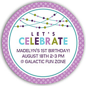 Polka Chic Purple Circle Birthday Party Invitations Flat Cards - Front