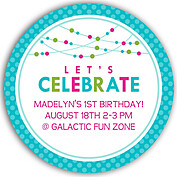 Polka Chic Turquoise Circle Birthday Party Invitations Flat Cards - Front