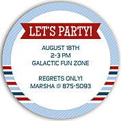 Preppy Party Blue Circle Birthday Party Invitations Flat Cards - Back