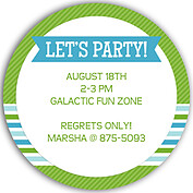 Preppy Party Green Circle Birthday Party Invitations Flat Cards - Back