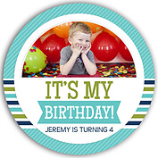Preppy Party Turquoise Circle Birthday Party Invitations Flat Cards - Front
