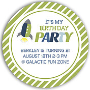 Rocketship Green Circle Birthday Party Invitations Flat Cards - Front