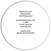 Invited Gold Circle Birthday Party Invitations Flat Cards - Back