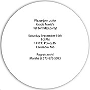 Invited Pink Circle Birthday Party Invitations Flat Cards - Back
