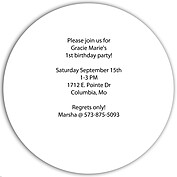 Invited Purple Circle Birthday Party Invitations Flat Cards - Back