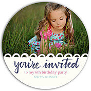 Invited Blue Circle Birthday Party Invitations Flat Cards - Front