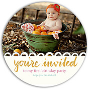 Invited Gold Circle Birthday Party Invitations Flat Cards - Front