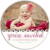 Invited Pink Circle Birthday Party Invitations Flat Cards - Front