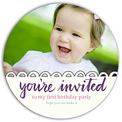 Invited Purple Circle Birthday Party Invitations Flat Cards - Front