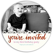 Invited Red Circle Birthday Party Invitations Flat Cards - Front