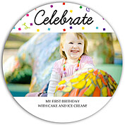 Celebrate Confetti Circle Birthday Party Invitations Flat Cards - Front