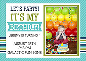 Preppy Party Turquoise Birthday Party Invitations Flat Cards - Front
