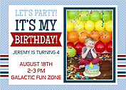 Preppy Party Blue Birthday Party Invitations Flat Cards - Front