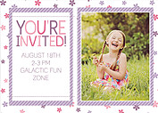 Flower Power Purple Birthday Party Invitations Flat Cards - Back