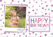 Flower Power Purple Birthday Party Invitations Flat Cards - Front