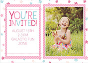 Flower Power Pink Birthday Party Invitations Flat Cards - Back