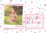 Flower Power Pink Birthday Party Invitations Flat Cards - Front
