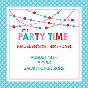Polka Chic Blue Square Birthday Party Invitations Flat Cards - Front
