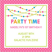 Polka Chic Pink Square Birthday Party Invitations Flat Cards - Front