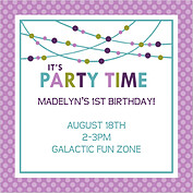Polka Chic Purple Square Birthday Party Invitations Flat Cards - Front