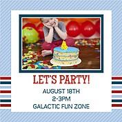 Preppy Party Blue Square Birthday Party Invitations Flat Cards - Back