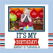 Preppy Party Blue Square Birthday Party Invitations Flat Cards - Front