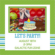 Preppy Party Green Square Birthday Party Invitations Flat Cards - Back