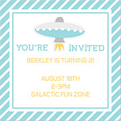 Rocketship Blue Square Birthday Party Invitations Flat Cards - Back
