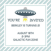 Rocketship Blue-Gray Square Birthday Party Invitations Flat Cards - Back