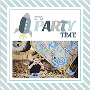 Rocketship Blue-Gray Square Birthday Party Invitations Flat Cards - Front