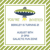 Rocketship Green Square Birthday Party Invitations Flat Cards - Back