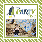 Rocketship Green Square Birthday Party Invitations Flat Cards - Front