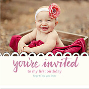 Invited Pink Square Birthday Party Invitations Flat Cards - Front