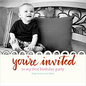 Invited Red Square Birthday Party Invitations Flat Cards - Front