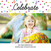 Celebrate Confetti Square Birthday Party Invitations Flat Cards - Front
