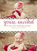 Invited Pink Birthday Party Invitations Flat Cards - Front